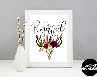Boho Wedding Reserved Sign; Rustic Reserved Sign; Wedding Table Signs; Wedding Decor; Boho Reserved Table Sign; Wedding Printable