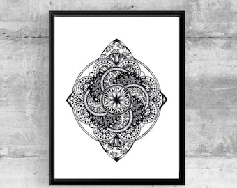 Printable wall art, instant download, tattoo art, sacred geometry art, mandala, wall art, wall decor, pen and ink, black and white