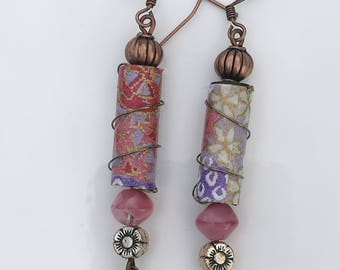 Recycled Irrigation Pipe Peach and Purple drop earrings