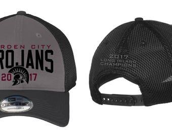 Embroidered Snapbacks Mesh - Hats - Garden City - High School - Soccer and Football - Trojans - GCHS - Long Island Champions