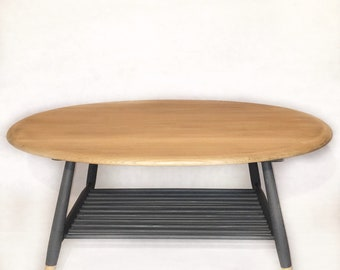 Up-cycled Ercol Oval Coffee table with spindle rack