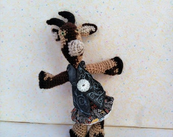 """Amigurumi goat """"Pétronille"""", the biquette, two-tone blue and flowers"""
