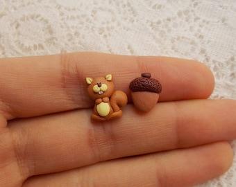 Squirrel Earrings - Squirrel Jewelry - Animal Earrings - Woodland Earrings - Squirrel Gift - Acorn Earrings - Fall Earrings Gift