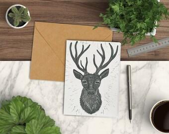 Stag greetings card, deer greetings card, stag card, linocut card, greetings card him, stag birthday card, deer birthday card, wedding card