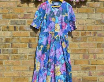Large Floral Print Tea Dress
