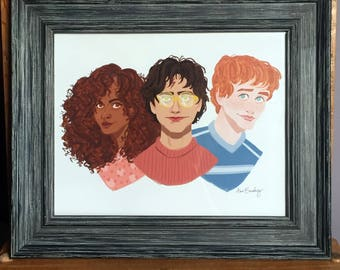 The Golden Trio -- Harry Potter, Hermione Granger and Ron Weasley art illustration print
