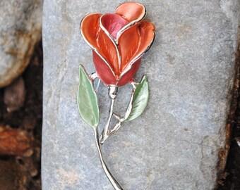 pink flower brooch - vintage - enamel pin - brooch - brooch women brooch - brooch