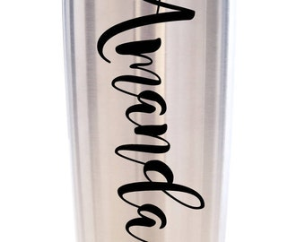 Personalized Name 20 oz Tumbler Travel Coffee Mug, Stainless Steel Cup, Personalized Stainless Steel Tumbler, Personalized Gift, Beach Cup