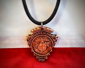 United States Marine Corp Arrowhead Necklace Hand Crafted From a 1oz. Copper Coin - Great Gift - USA