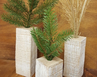 Set of 3 Weed Vases Rustic Shabby Chic Wooden Vases Wood Vases Minimalist