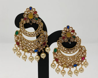 Indian Earrings - Indian Bridal Jewelry - Kundan Earrings - Bollywood Earrings - Pakistani Earrings - Polki Earrings - Multi Color Earrings