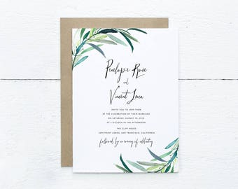 Eucalyptus Branch Wedding Invitation Suite, Greenery Wedding Invitation, Printable Woodland Wedding Invitation, Outdoor Wedding