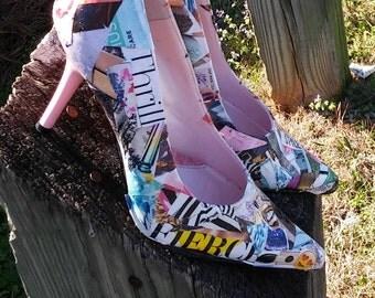 Closed Toe Pumps, Magazine Print Pumps, Heels, Women's Shoes, Size 10 Shoes, Printed Pumps, High Heels Shoes, Pointy toe pumps, Revamp shoes