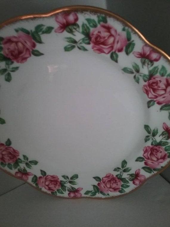 Salisbury Bone China Dessert Plates, Pink Roses with Green Leaves and Gold Rim, Vintage Salisbury Rose Dessert Plates, Unique Xmas Gift