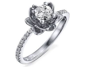 Round Cut Flower Deisgn Diamond Engagement Ring 14k White Gold or Yellow Gold or Rose Gold Art Deco Diamond Ring Proposal Ring