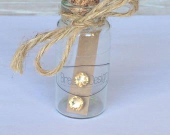 Swarovski Crystal Stud Earrings, displayed in glass bottle