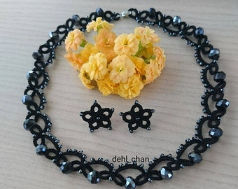 Black and dark grey necklace with earrings