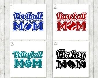 Sports Mom Decal, Football Mom Decal, Baseball Mom Decal, Hockey Mom, Volleyball Mom, Team Mom Decal, Football Car Decal, Gift for Mom