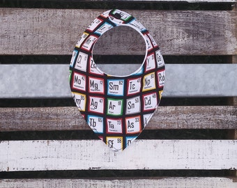 Science baby Periodic Table dribble and drool bib for babies and toddlers