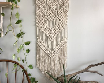 Large woven wall hanging with fringe; Macrame tapestry; Textile wall art