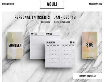 Personal TN Insert | Personal TN Size | Personal TN Insert Printable | Month on Two Pages | Travelers Notebook Insert | Printable Insert