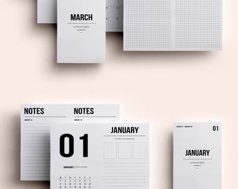 Pocket TN Insert | Jan - Mar | Printable daily to do | Daily Planner | Grid Planner | WO4P | Fits EC Stickers | Travelers Notebook Insert