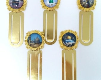 Set of 2 metal islamic bookmarks gold tone Mecca Medina Al-Aqsa Ka'bah door Makkah Quran umrah wedding nikah, islamic gift hajj islamic home
