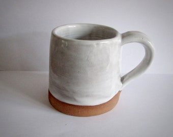 White Stoneware Pottery Mug - Medium - Hand Thrown - Coffee - Tea - Cup - Handmade - Farmhouse Style - Rustic - Hygge - Boho - Part Glazed