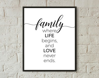 family print download family definition print printable art black and white family love wall decor inspirational quotes housewarming gifts