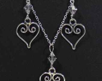 Small Heart and Crystal Sterling Silver Earring and Necklace Set