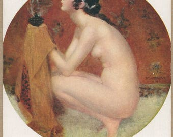 An Offering of Incense | Exquisite Antique Art Postcard | Paris Nude | Ritualistic Vapors | Black Grecian Hair | Bohemian Theme | Risqué |