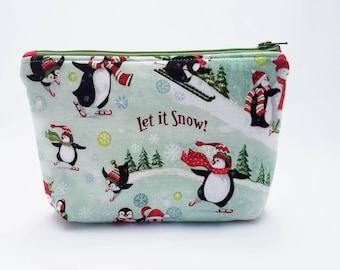 Make up bag, makeup bag, cosmetic bag, cosmetic case, Christmas in July, zip bag, zip pouch, penguins