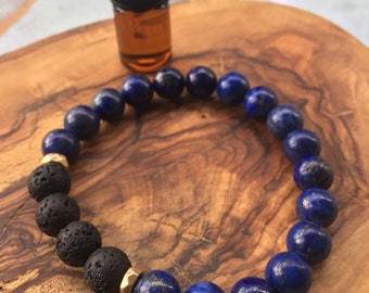 LAPIS LAZULI essential oil bracelet: wisdom, truth, clarity, compassion, focus, wise thinking, memory, intellectually stimulating
