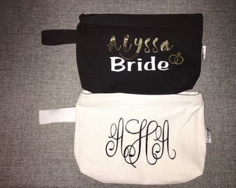 Personalized Canvas Zipped Makeup Bags