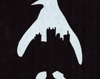 Pittsburgh Skyline Penguin in black