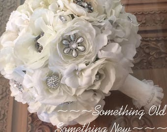 Silk ivory and white flowers brooch bouquet