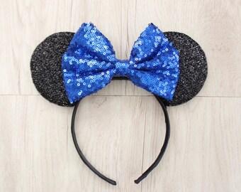 Blue Minnie Bow, Black Minnie Mouse Ears, Disneyland Ears, Minnie Mouse Ears, Minnie Ears, Mickey Mouse Ears, Disney World, Disneyland