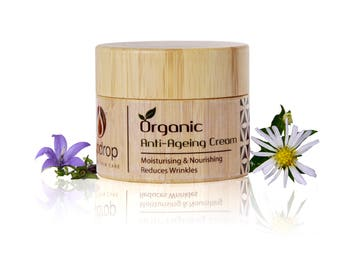 Luxurious Organic Anti-Aging face cream, Reduce Wrinkles , 100% Natural Ingredients, Non-Greasy Formulae, Eco-Friendly Bamboo Packaging