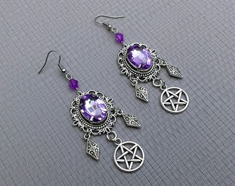 earrings cameo cabochon faceted crystal violet gem stone pentagram pentacle silver gothic wicca pagan occult magic witch witchcraft witchy