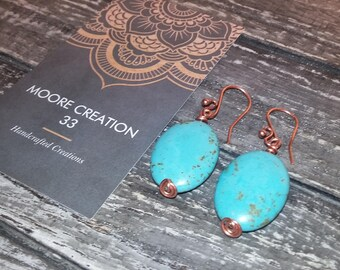 magnesite and copper earrings, turquoise blue earrings