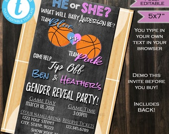 Basketball Gender Reveal Invitation Baby Shower Invite Team He vs She Slam Dunk Chalkboard Template Custom Printable INSTANT Self EDITABLE