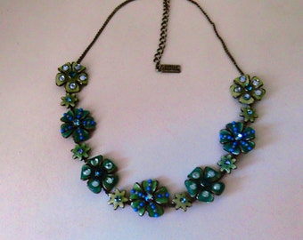 AXELLE created turquoise green metal necklace / S 80