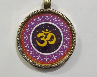 Beautiful OM Handmade Pendant, Brass Pendant, OM displayed , Covered By Brass And Glass