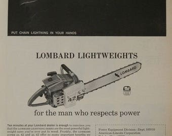 Vintage chainsaw etsy 1966 lombard al 42super al 42 chainsaw vintage magazine advert put chain lightning in greentooth Images