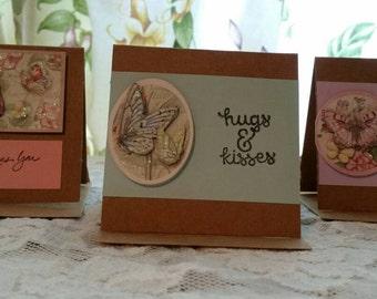 Handmade 3 Piece Mini Card Set, Assorted Greetings