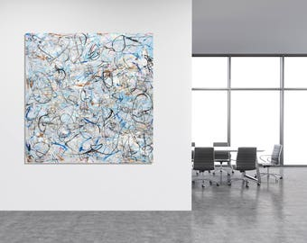 Original Abstract Painting Wall Art Modern Art Blue Pink Grey Painting Contemporary Canvas Art