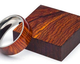 Cocobolo Wood Ring with stainless steel core