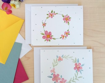 Watercolour floral wreath notecards (set of 2)