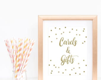 Confetti Gold Cards and Gifts Sign Template Gold Glitter Baby Shower Sign Gold and White Bridal Shower Decorations Printable Table Signs GCO