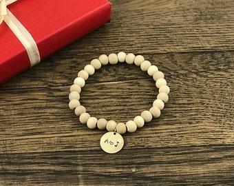 Couple Initial Bracelet | Initial Charm Bracelet, Wood Bead Bracelet, Initial Charm Wood Bracelet, Dainty Initial Bracelet